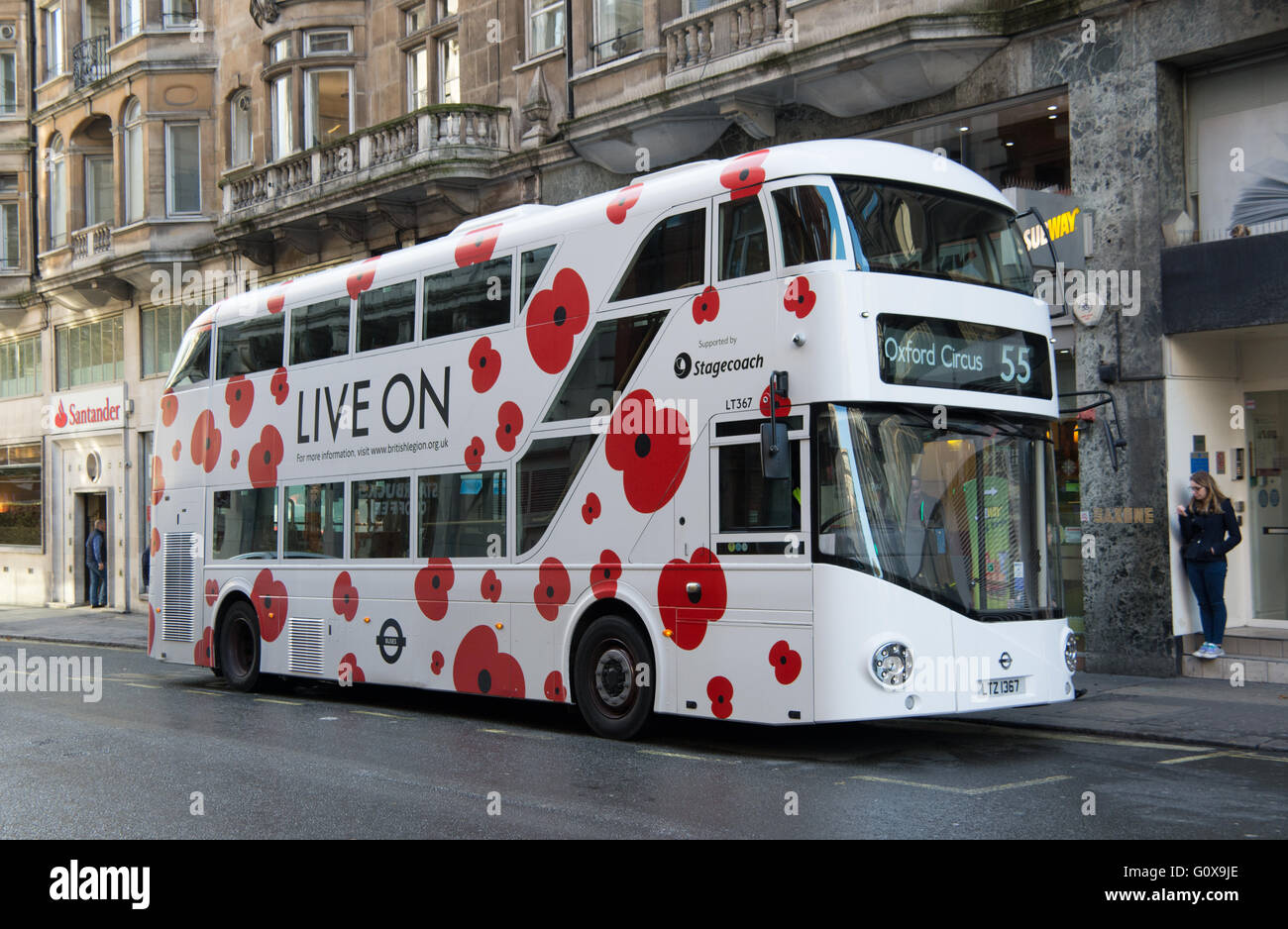 A New Routemaster for London decorated for the 2015 Poppy appeal operated by Stagecoach London on behalf of Transport - Stock Image