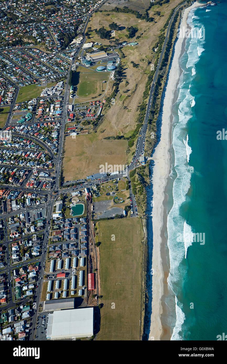St Kilda Beach, Kettle Park, and Chisholm Park Golf Course, Dunedin, Otago, South Island, New Zealand - aerial - Stock Image