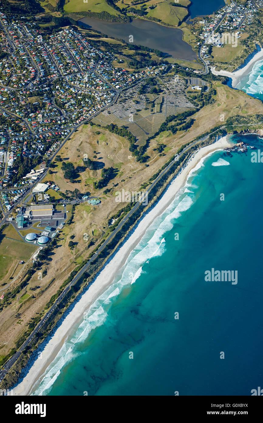 St Kilda Beach, and Chisholm Park Golf Course, Dunedin, Otago, South Island, New Zealand - aerial - Stock Image