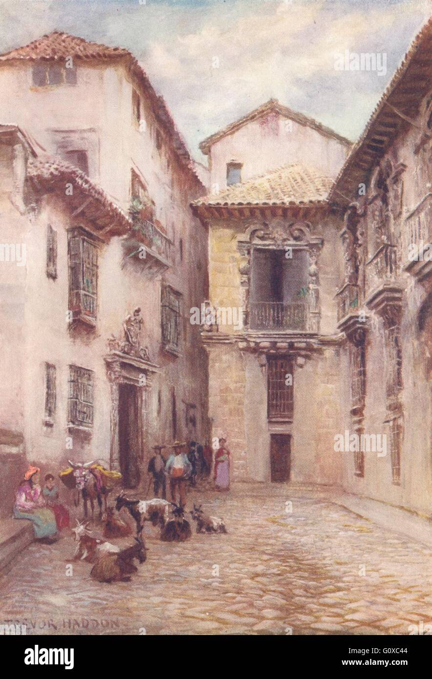SPAIN Granada-A Street in the Albaicin 1908 old antique vintage print picture