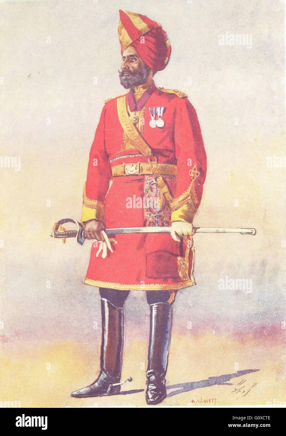 INDIA: Armies of Native States: Bharatpur Infantry; Commandant Jat, print 1911 - Stock Image
