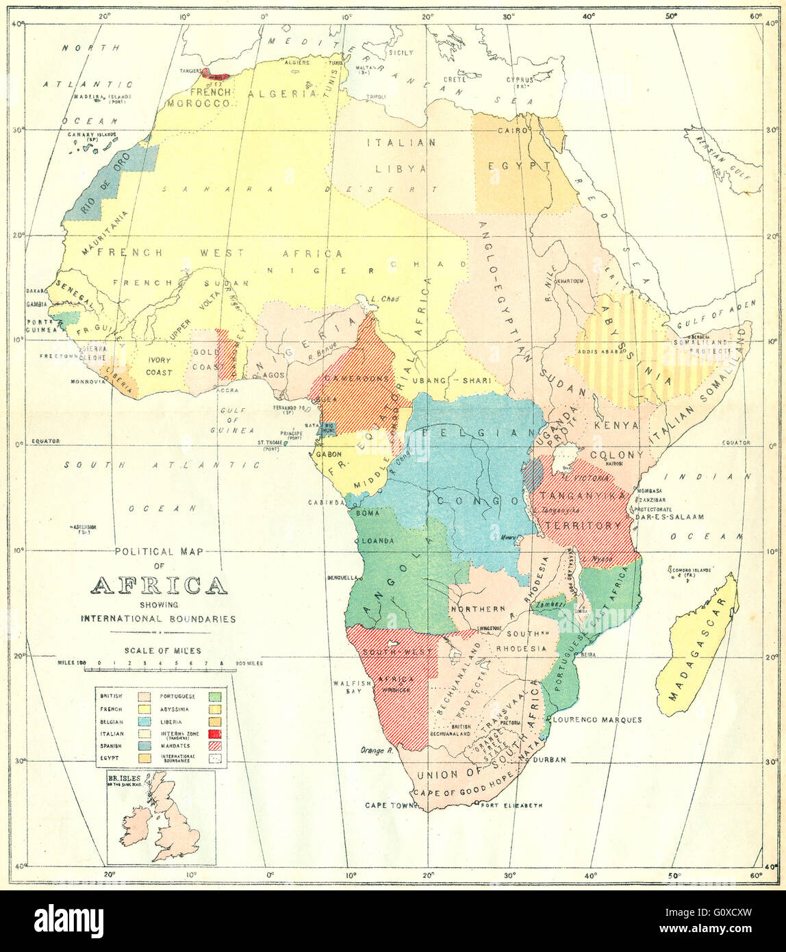 AFRICA: Political Map of showing International Boundaries, 1936