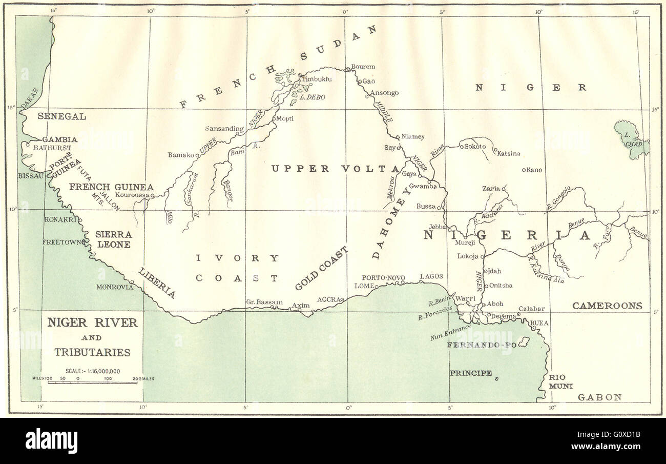 AFRICA: Niger River and Tributaries, 1936 vintage map Stock Photo ...