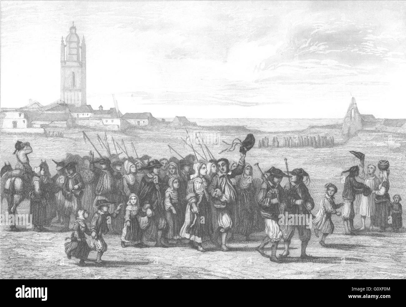 BRETAGNE: Mariage Retour de l'Eglise, antique print 1844 - Stock Image
