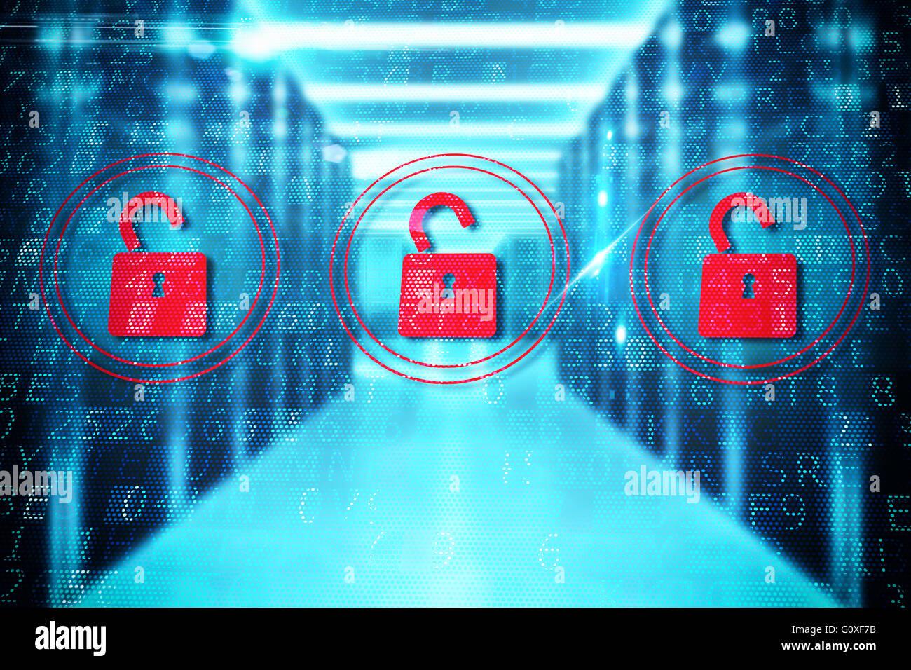 Security open padlock - Stock Image