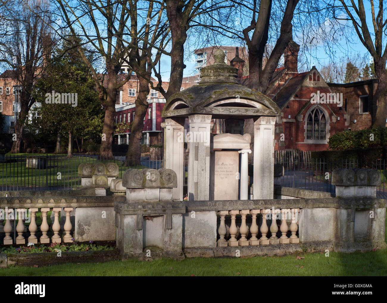 The tomb of architect SIR JOHN SOANE at St Pancras Old Church,this design  inspired Londons iconic red telephone - Stock Image