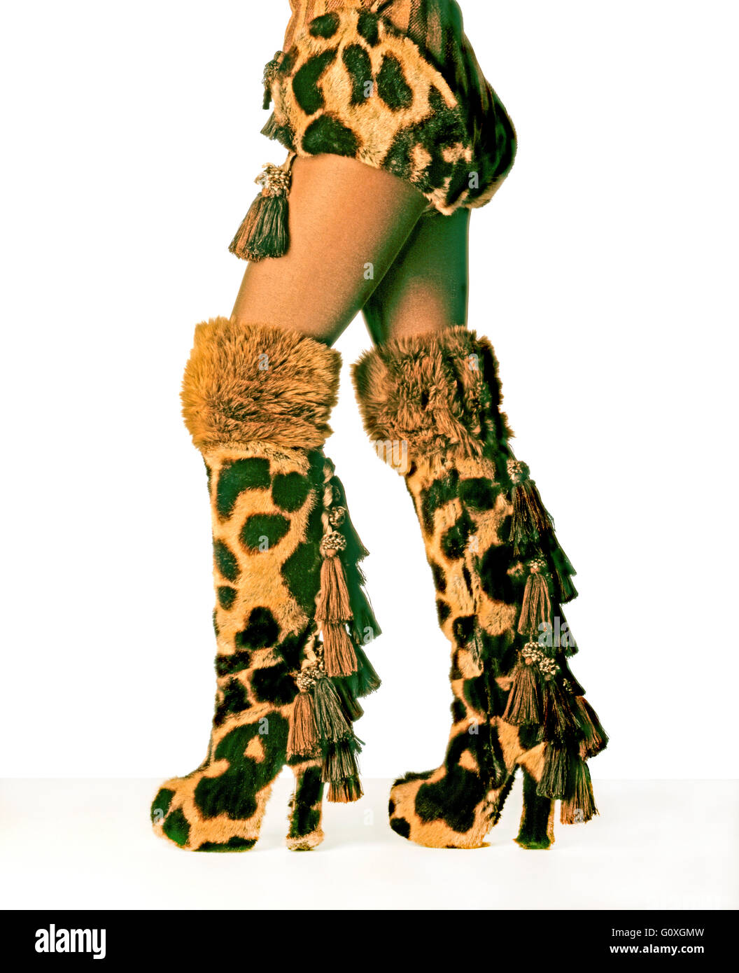 VIVIENNE WESTWOOD BOOTS WITH MATCHING HOT PANTS - Stock Image
