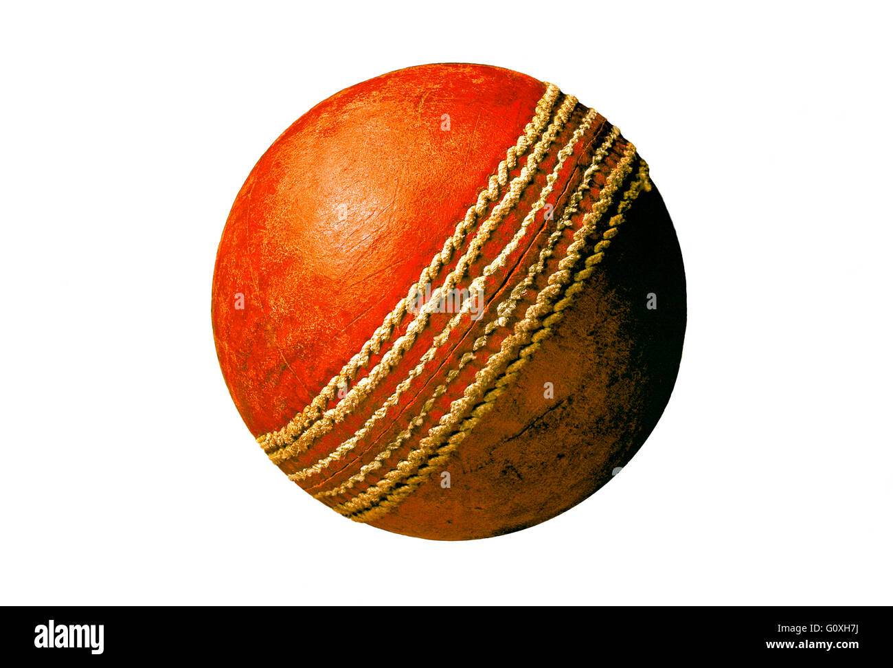 Cricket Ball Red leather old and used cricket ball - Stock Image