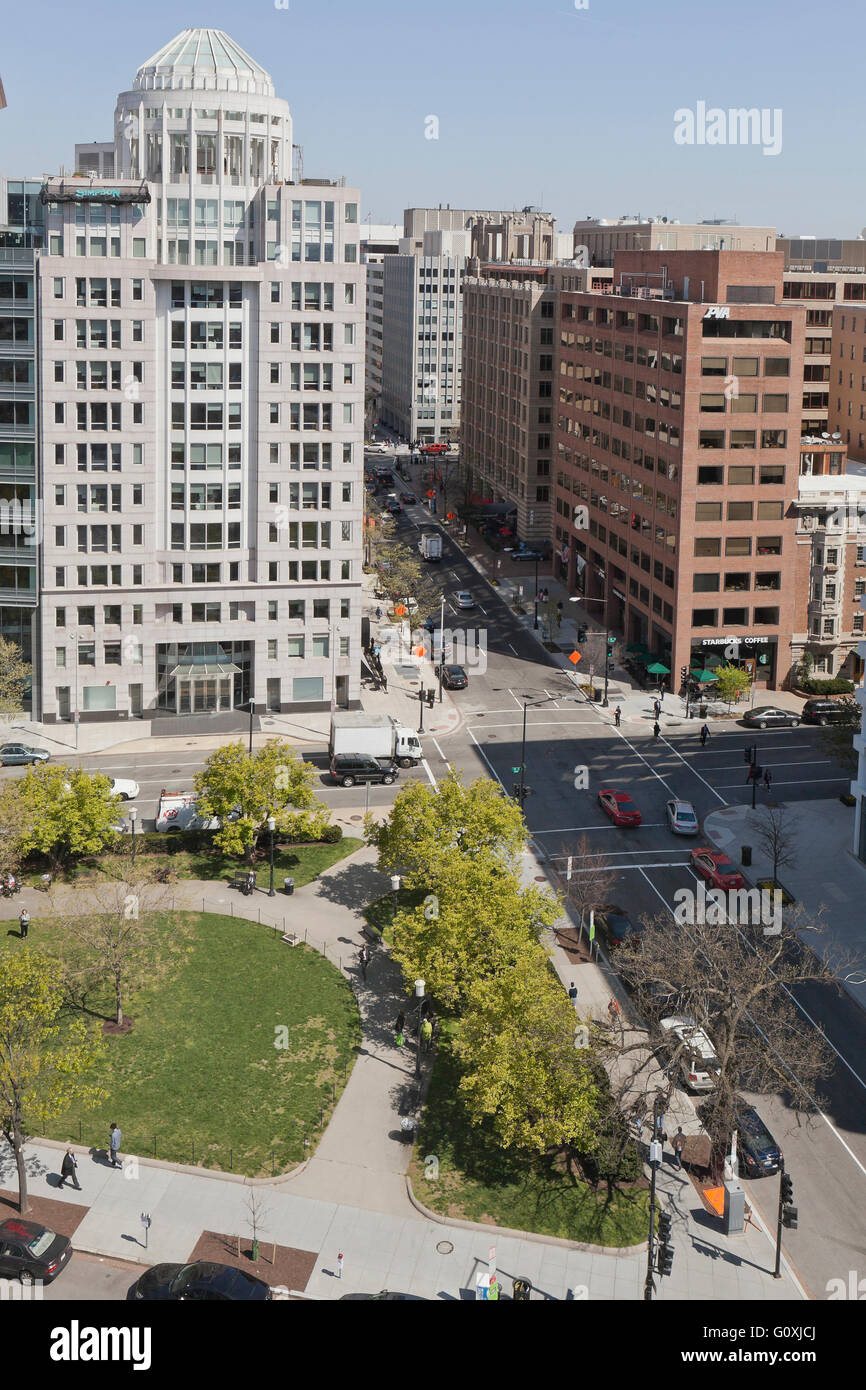 Birds-eye view of 18th and H street NW, and Edward R Murrow park - Washington, DC USA - Stock Image