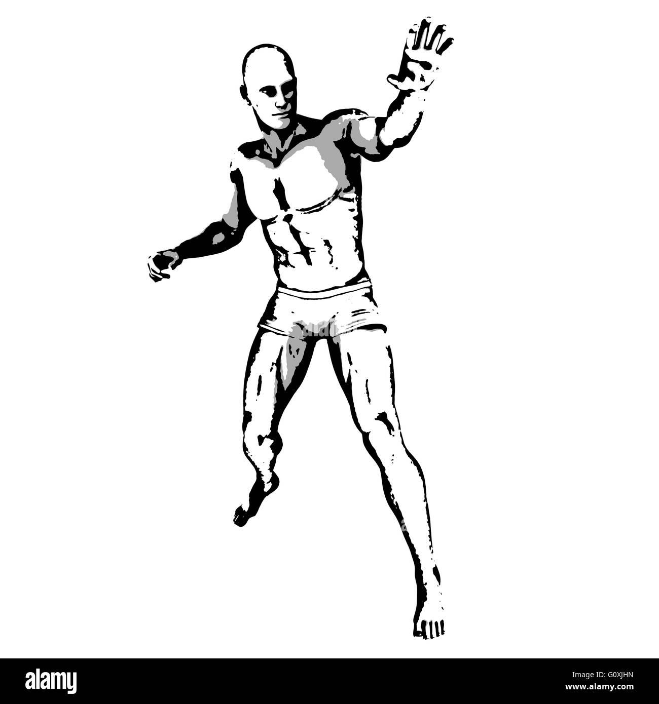 Comic Book Hero Pose in Sketch Ink Illustration - Stock Image