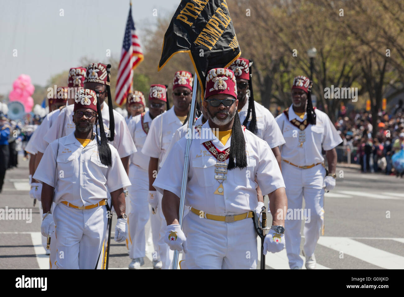 Pyramid Shriners members participating in parade - Washington, DC USA - Stock Image