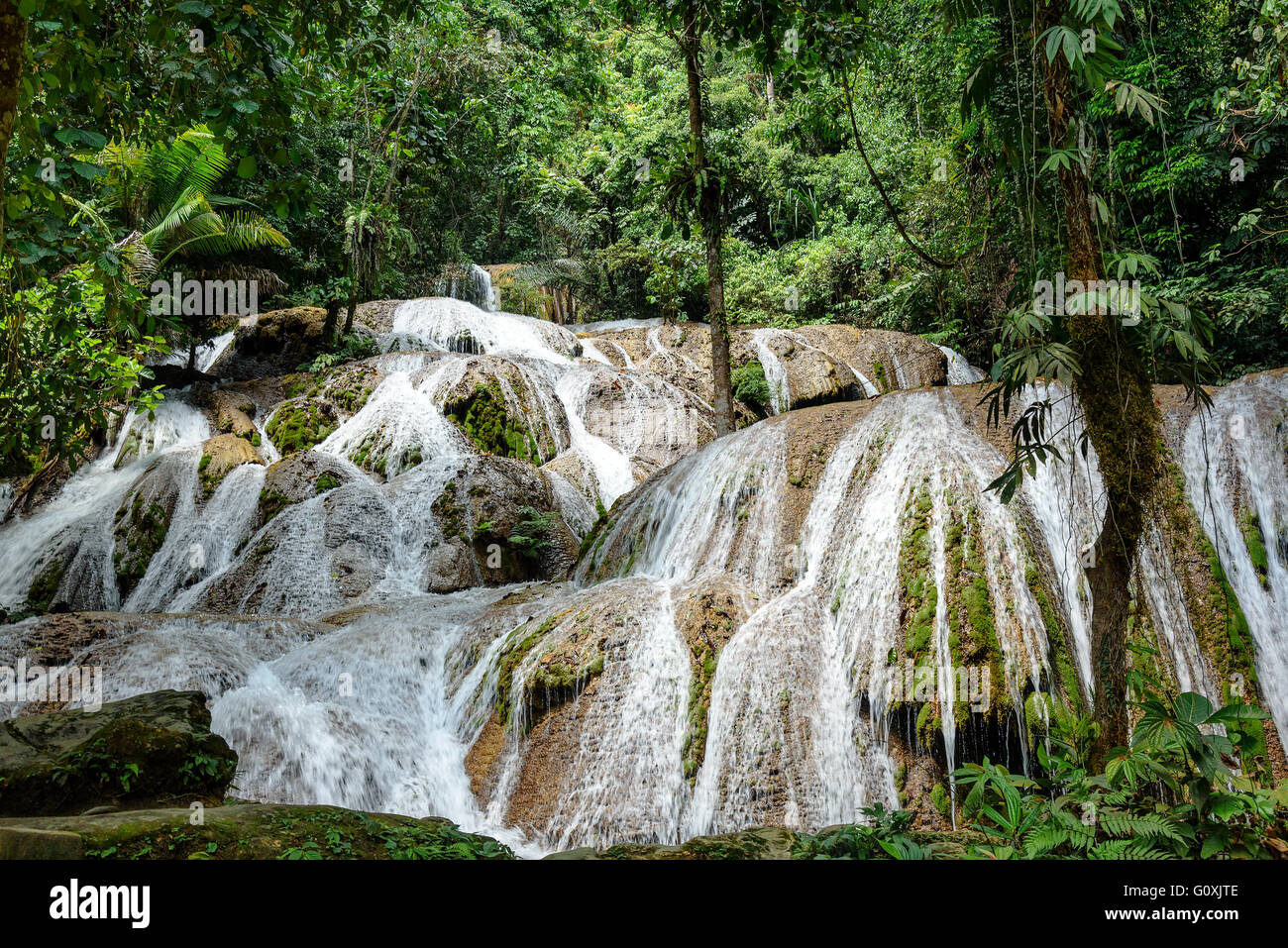Saluopa Waterfall in Tentena. Central Sulawesi. Indonesia - Stock Image