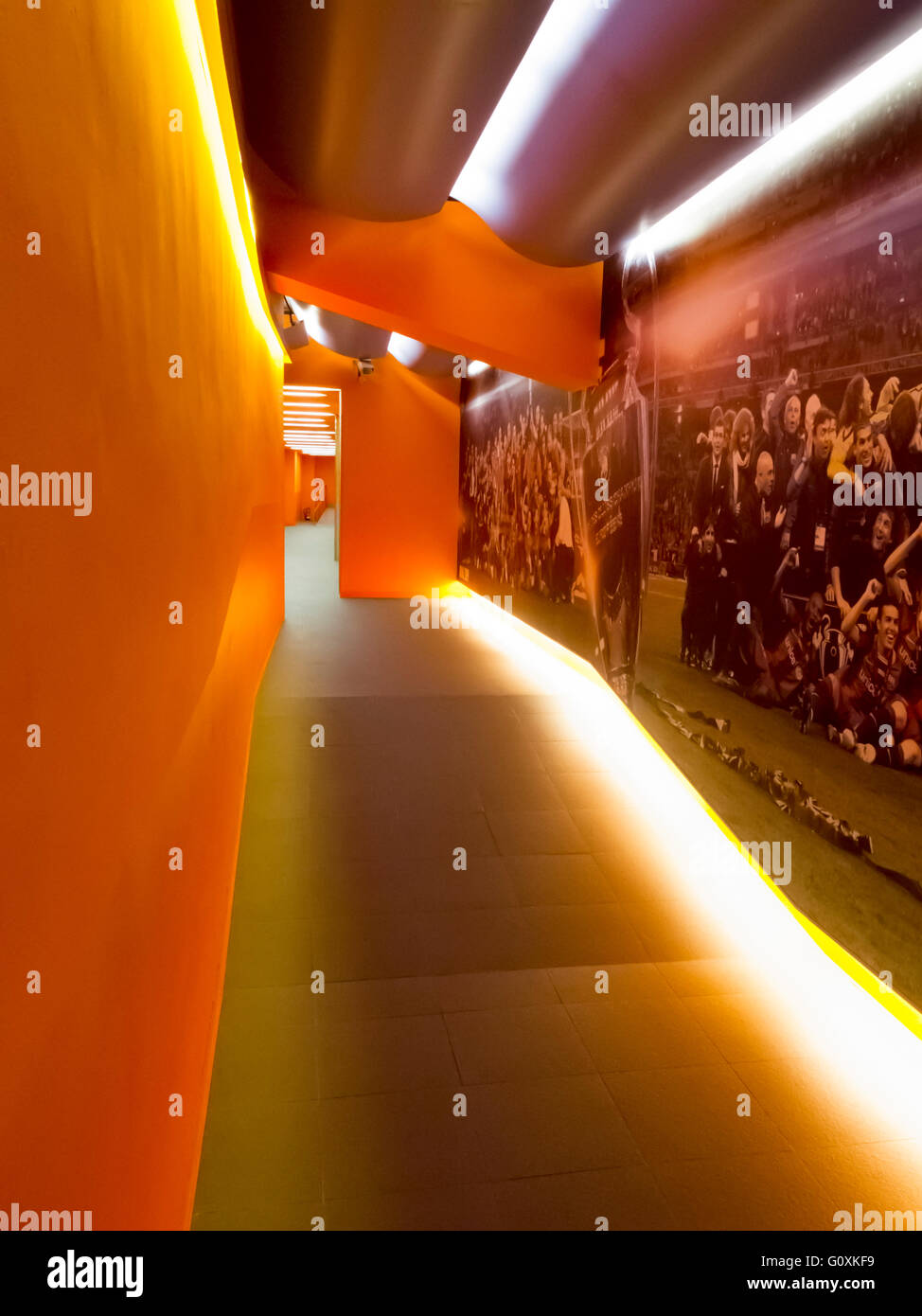 Corridor to the the home team changing room in FC Barcelona football club Camp Nou stadium, Barcelona, Spain - Stock Image