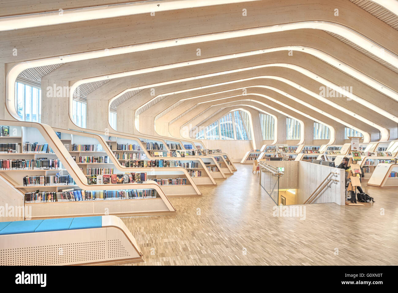 The large communal public building, the Vennesla Library, a library, cafe⌐, meeting place and administrative space - Stock Image
