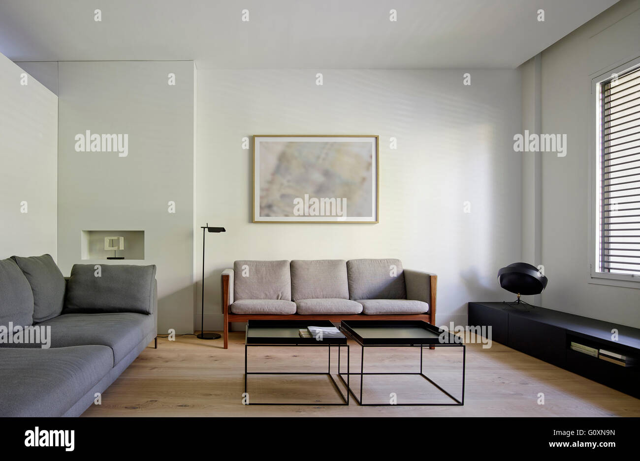 Spacious Contemporary Living Room With Grey Modern Sofas And Painting On  Wall.   Stock Image