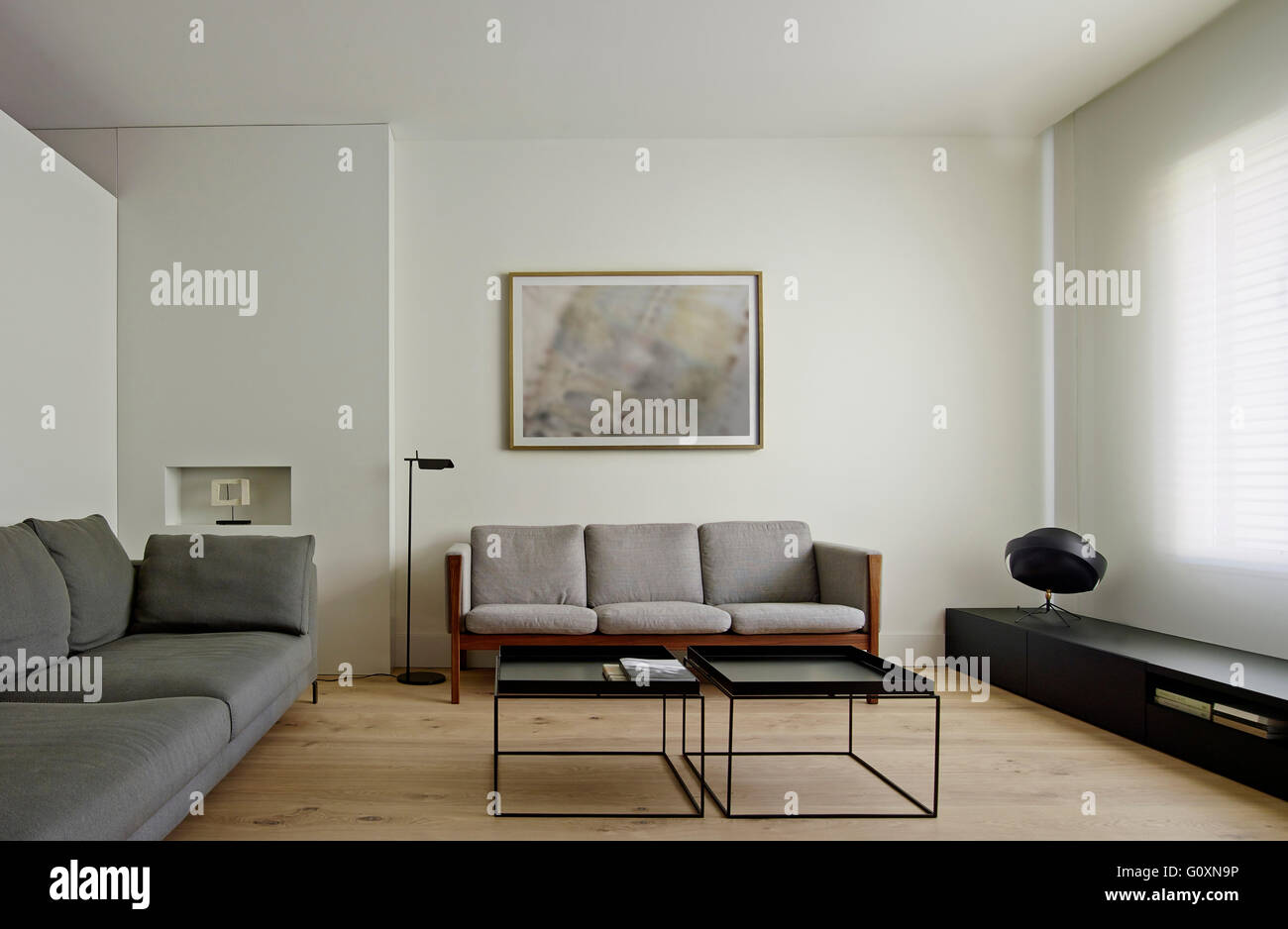 Beautiful Spacious Contemporary Living Room With Grey Modern Couches And Painting On  Wall.   Stock Image