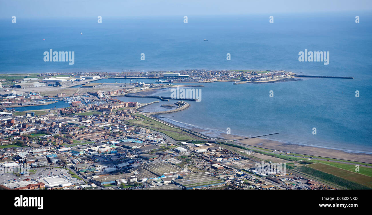 An aerial view of Hartlepool, Teeside, North East England - Stock Image