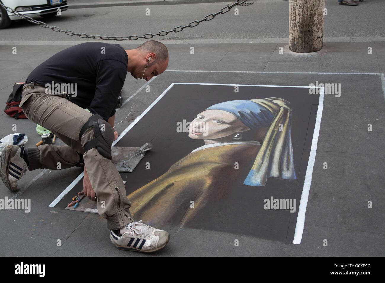 Art in chalk in the street of rome, Italy - Stock Image