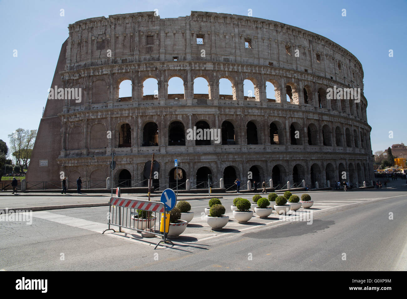 The Colosseum  known as the Flavian Amphitheatre is an oval amphitheatre in the centre of the city of Rome, Italy - Stock Image