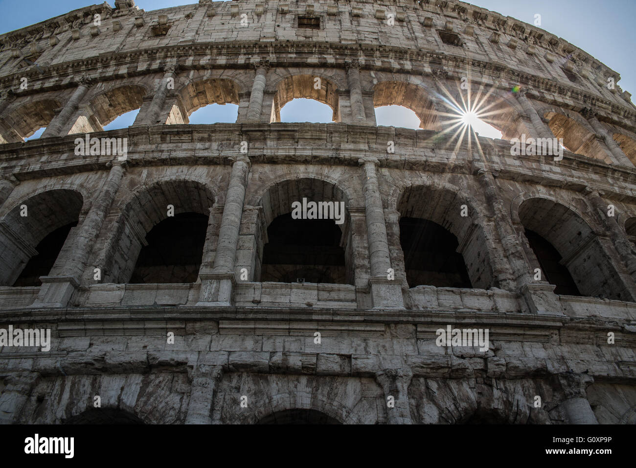 The Colosseum or Coliseum also known as the Flavian Amphitheatre is an oval amphitheatre in the centre of the city - Stock Image