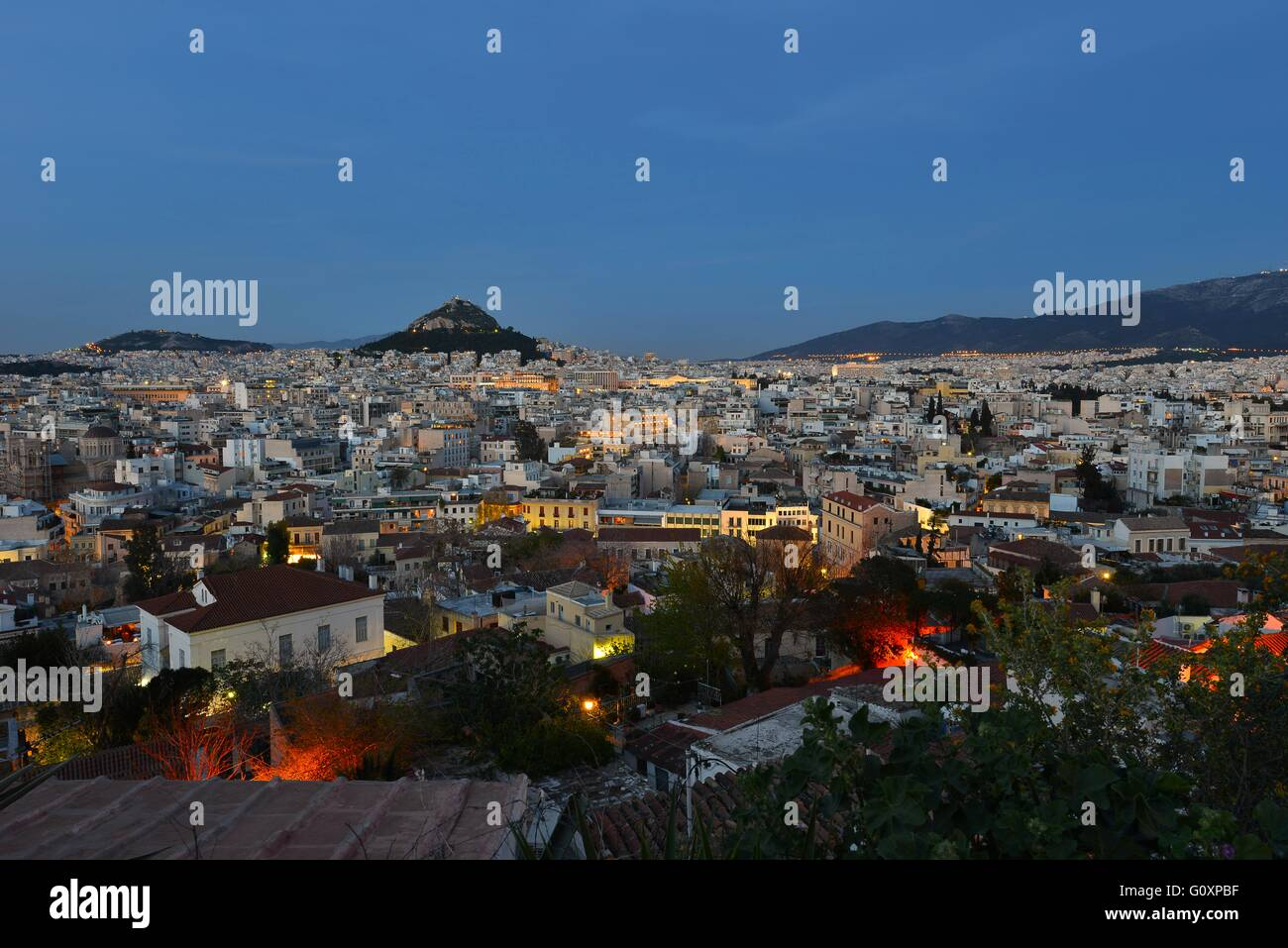Panoramic view of Athens and in the background Lycabettus - Stock Image
