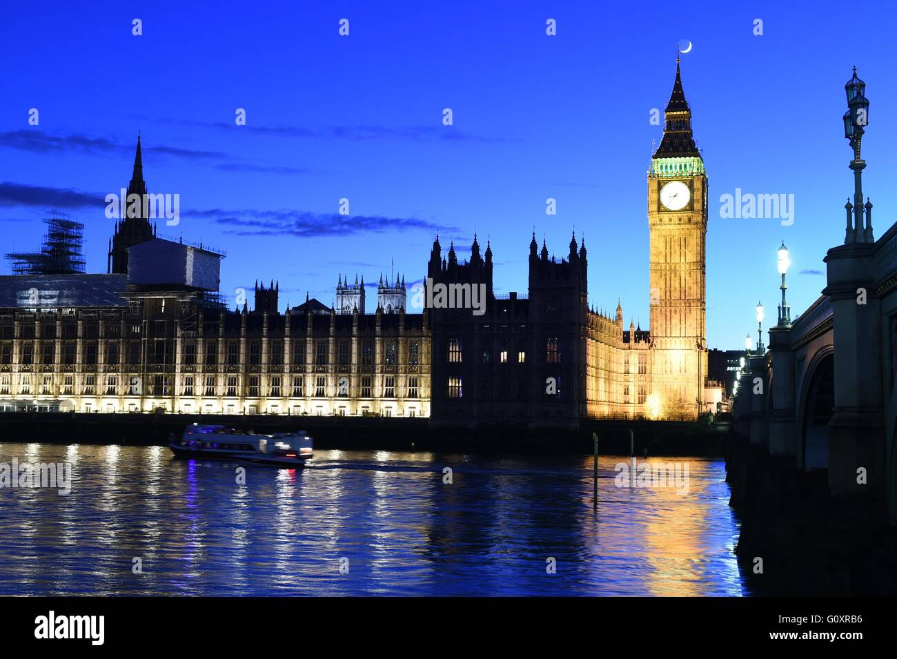 Big Ben, Houses of Parliament and River Thames off Westminster Bridge - Stock Image