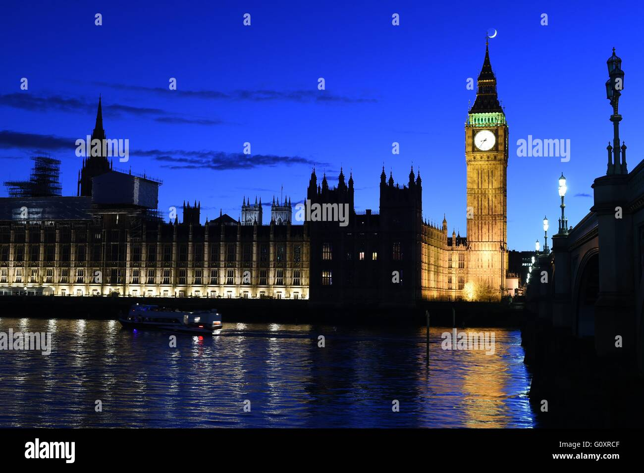 Big Ben, Houses of Parliament and River Thames at Night - Stock Image