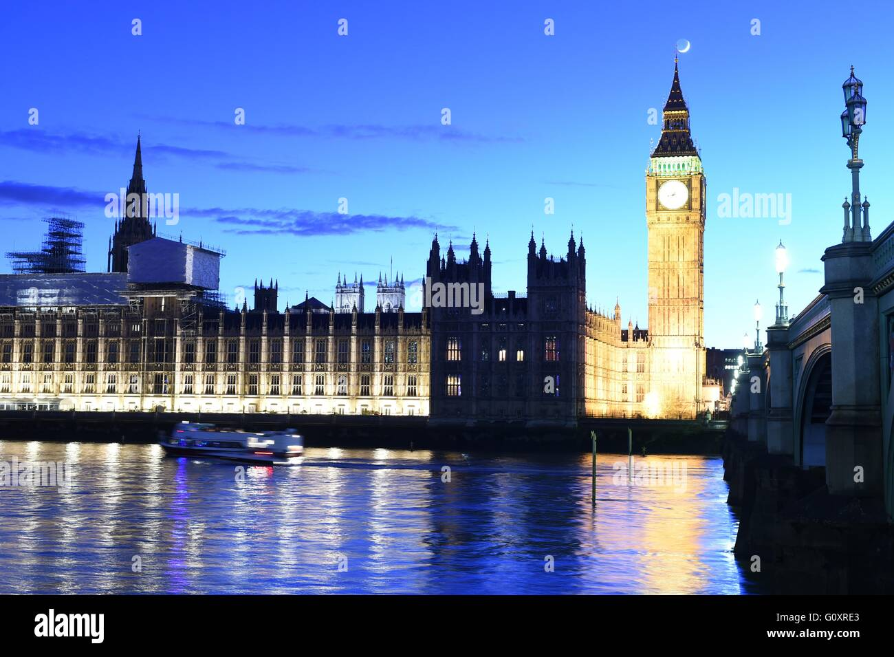 Big Ben, Westminster Bridge, River Thames and Houses of Parliament in London UK Stock Photo
