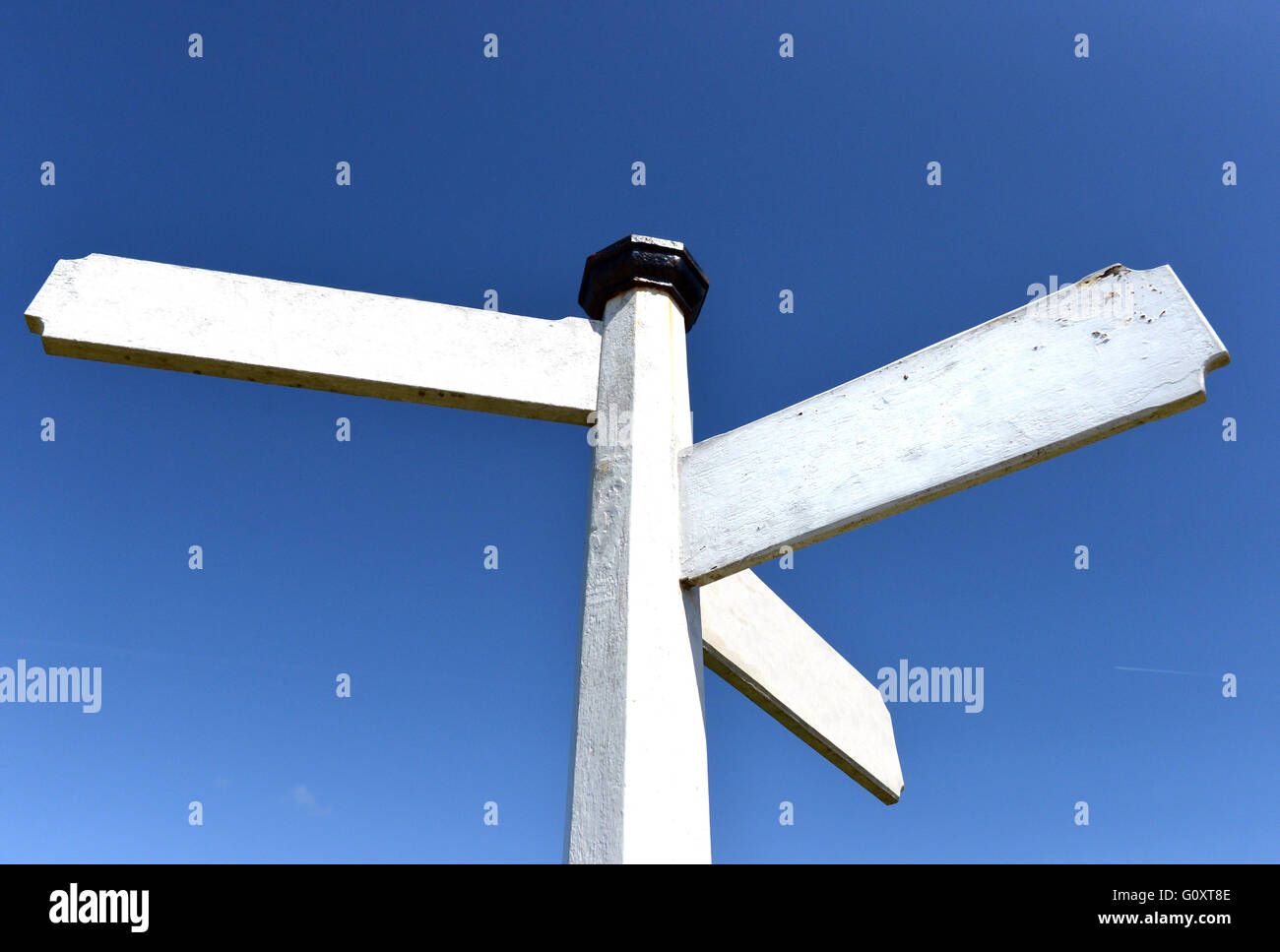 Blank traditional white wooden finger-post / signpost - Stock Image