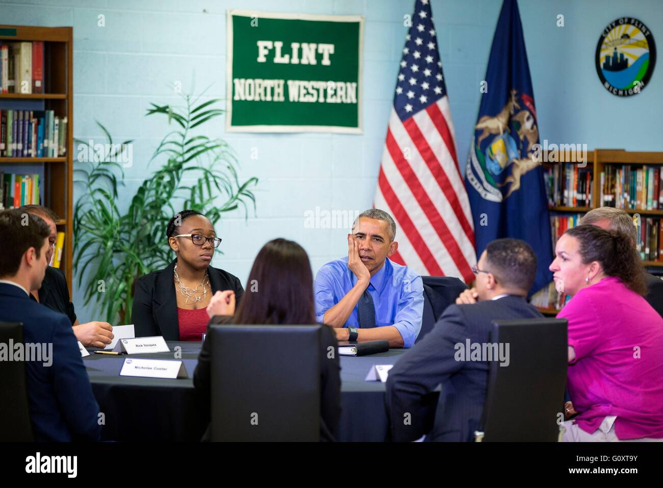 U.S President Barack Obama participates in a roundtable on the Flint water crisis at Northwestern High School May - Stock Image