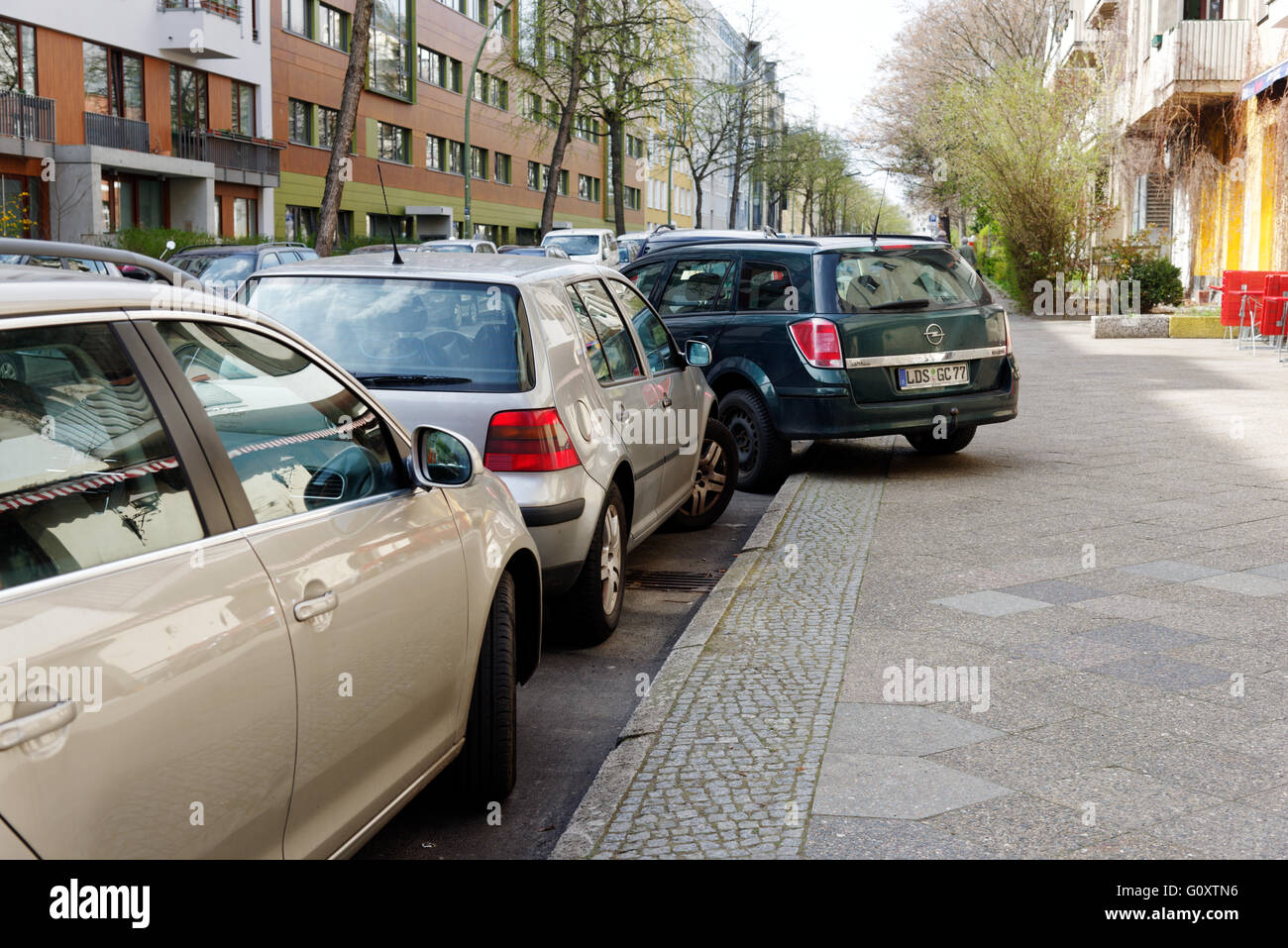 Bad parking in Berlin - Stock Image