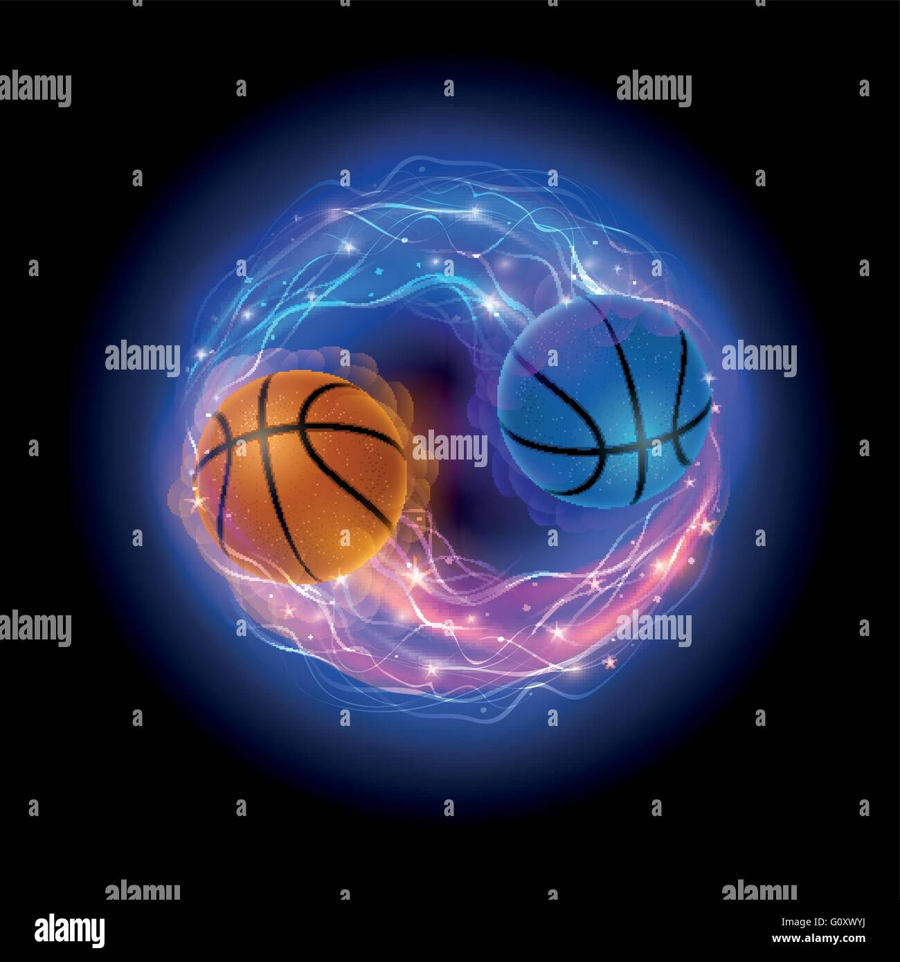 Basketball Ball In Flames And Lights Against Black Background Vector Stock Vector Image Art Alamy