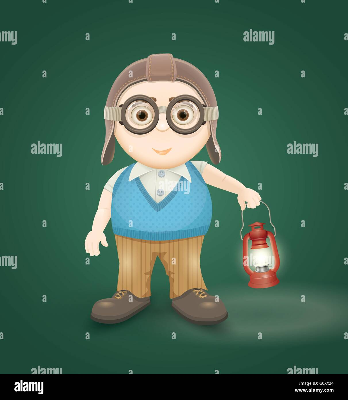 Vector illustration of explorer boy. Elements are layered separately in vector file. - Stock Vector