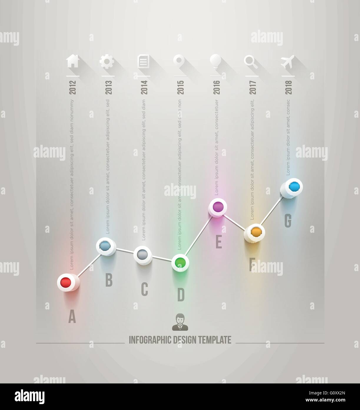 Vector 3d line chart infographic design template. Elements are Stock ...