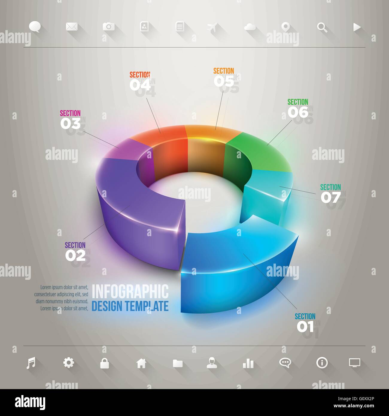 vector 3d pie chart infographic design template. elements are
