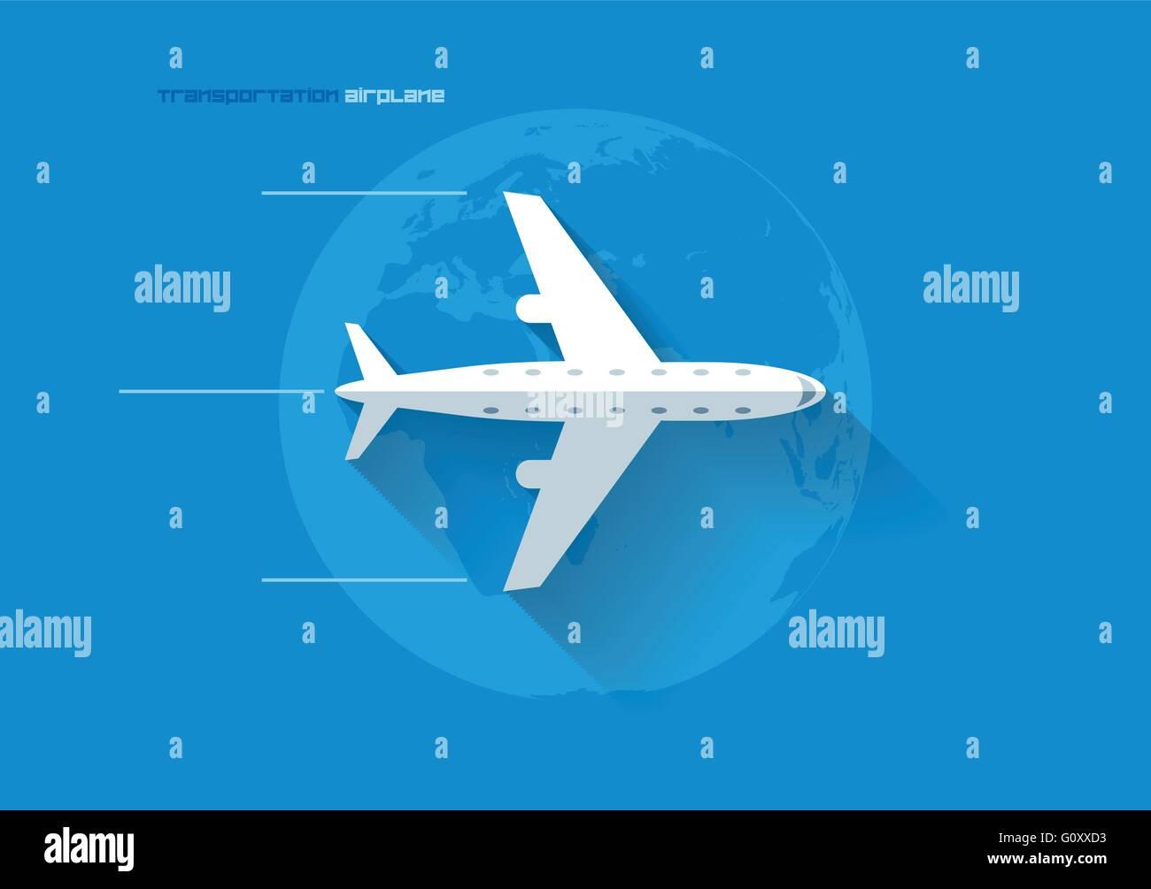Vector flat transportation concept icon illustration. Airplane. - Stock Image