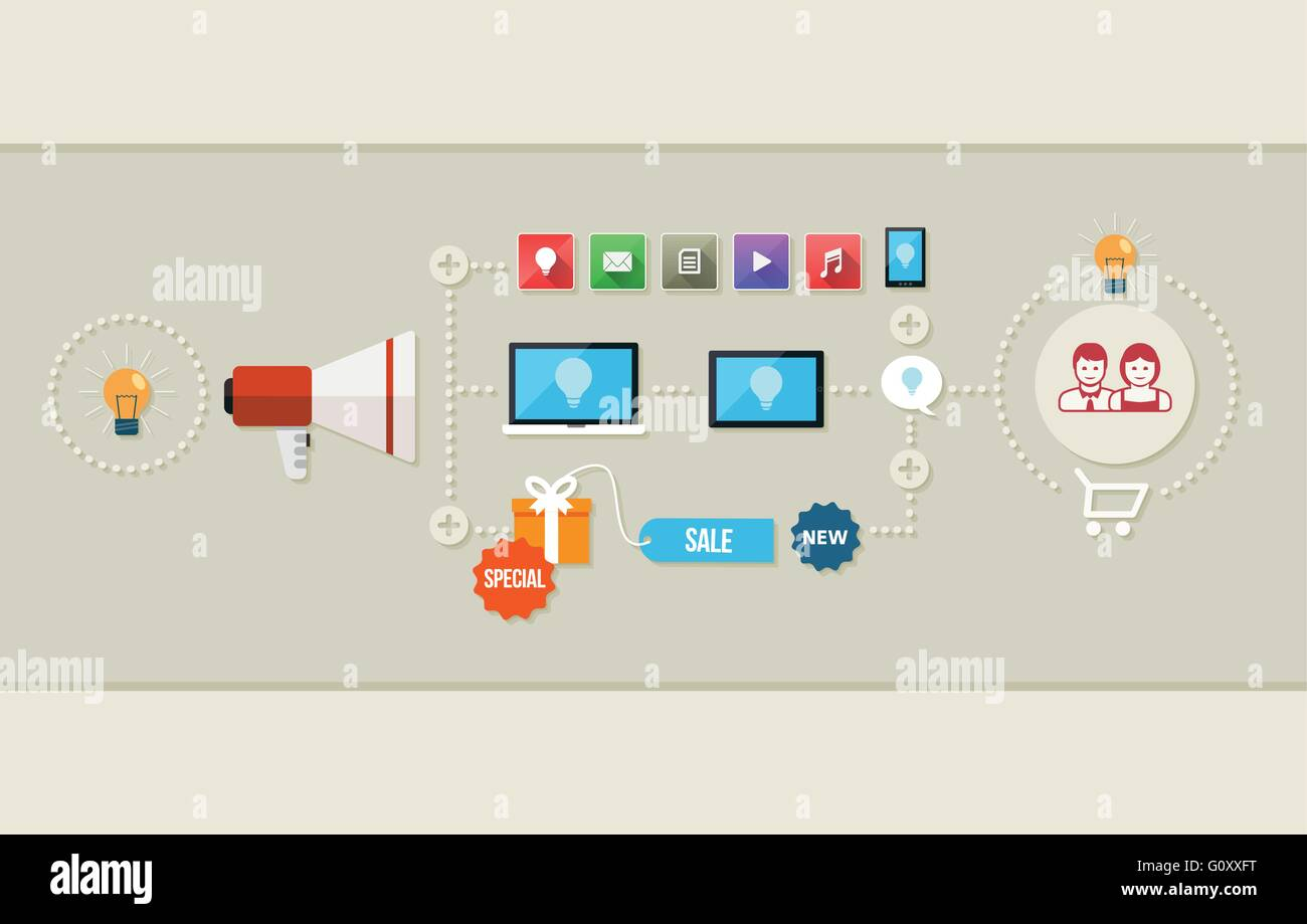 Flat design vector illustration of marketing process concept. - Stock Image