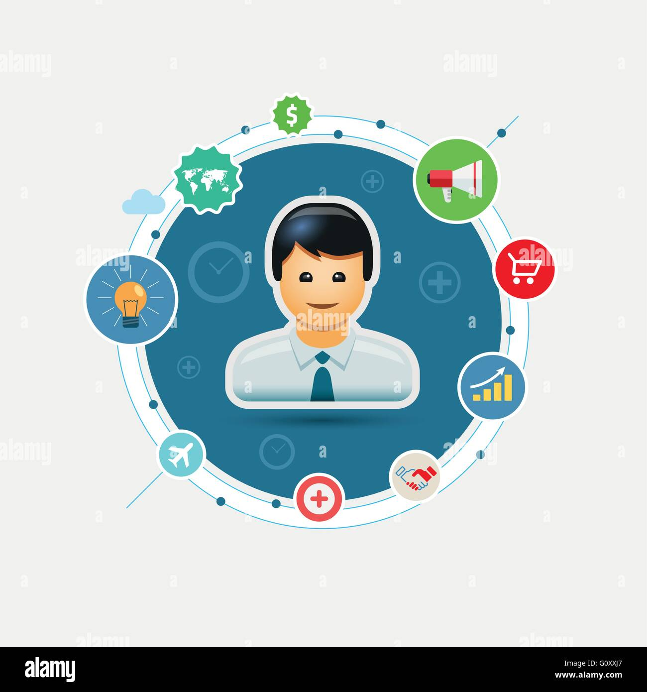 Vector global business marketing illustration. EPS10 file. - Stock Image