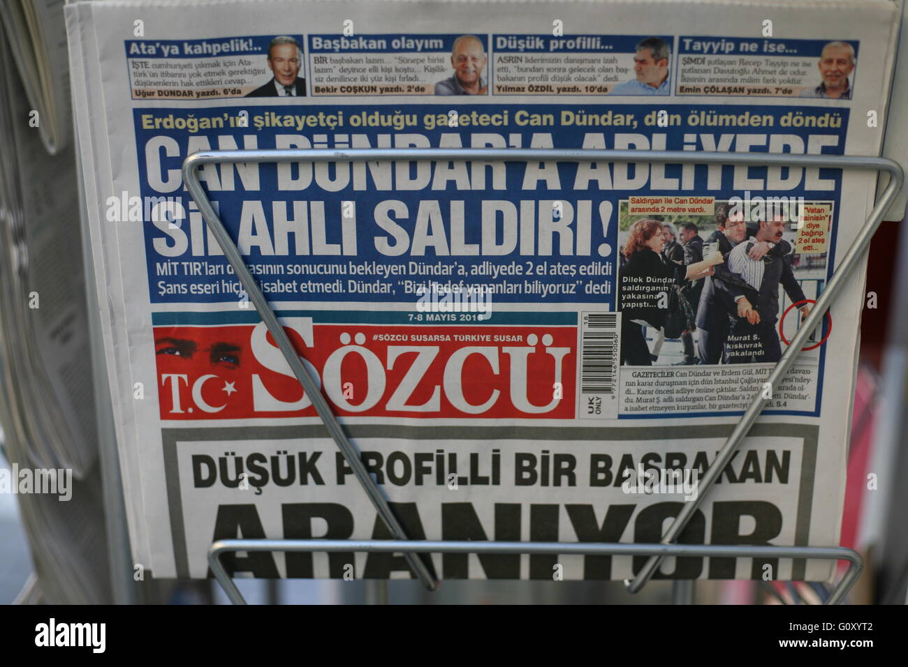 Headline of the newspaper Sözcü about the problems in Istanbul, Turkey - Stock Image
