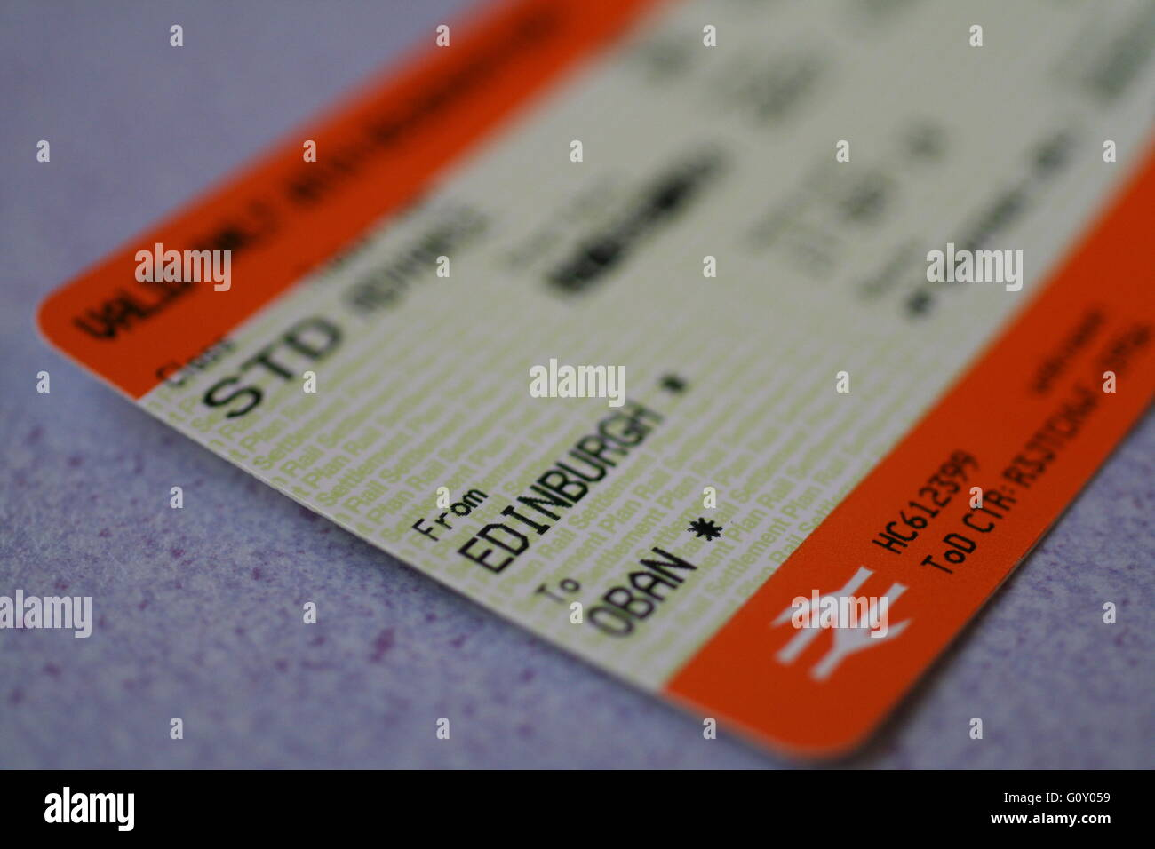 Train tickets from Edinburgh to Oban - Stock Image