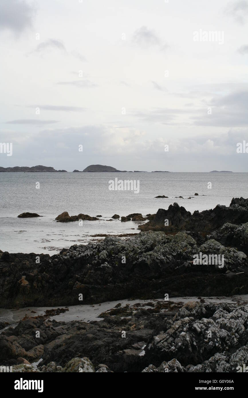 Beach at the north end of the Isle of Iona, Argyll, Scotland - Stock Image