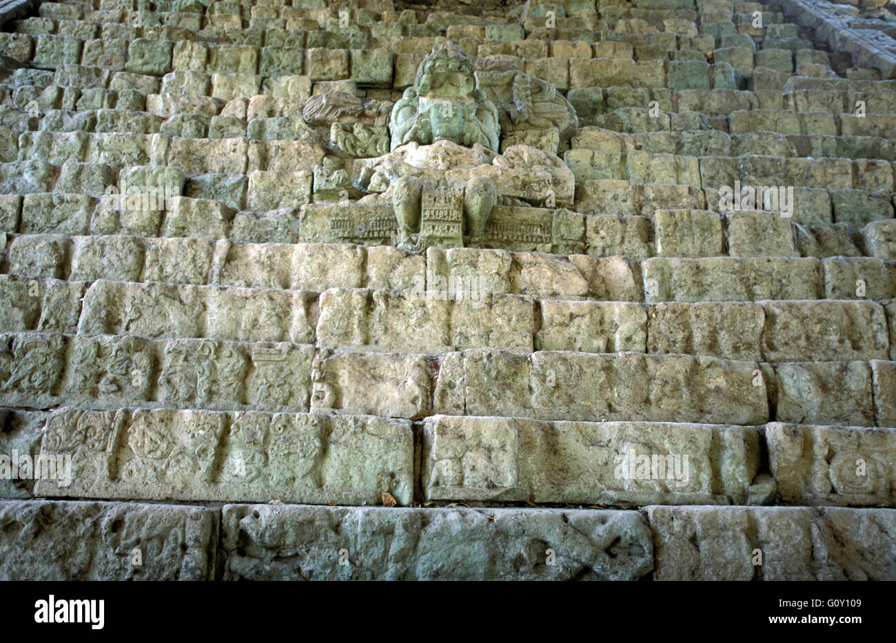 The Hieroglyphic Stairway, Copan Ruins, an archaeological site of the Maya civilization in Copan Department, Honduras - Stock Image