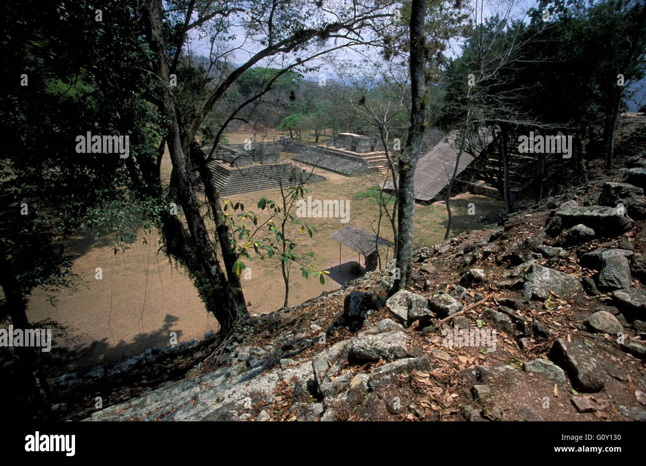 From the top of a pyramid Copan Ruins, an archaeological site of the Maya civilization in Copan Department, Honduras - Stock Image
