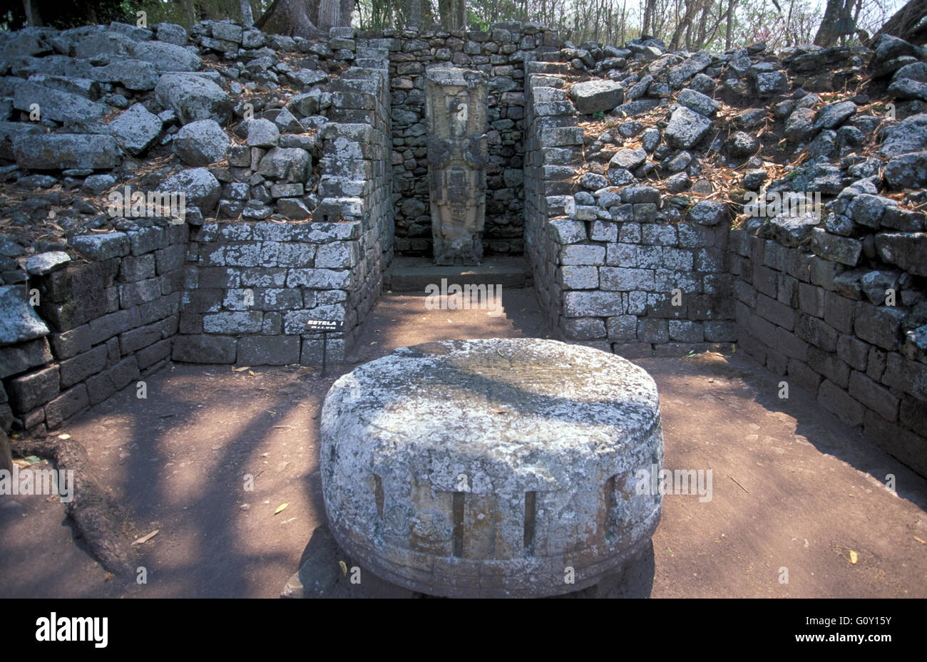 The stone for human sacrifice, Copan Ruins, an archaeological site of the Maya civilization in Copan Department, - Stock Image