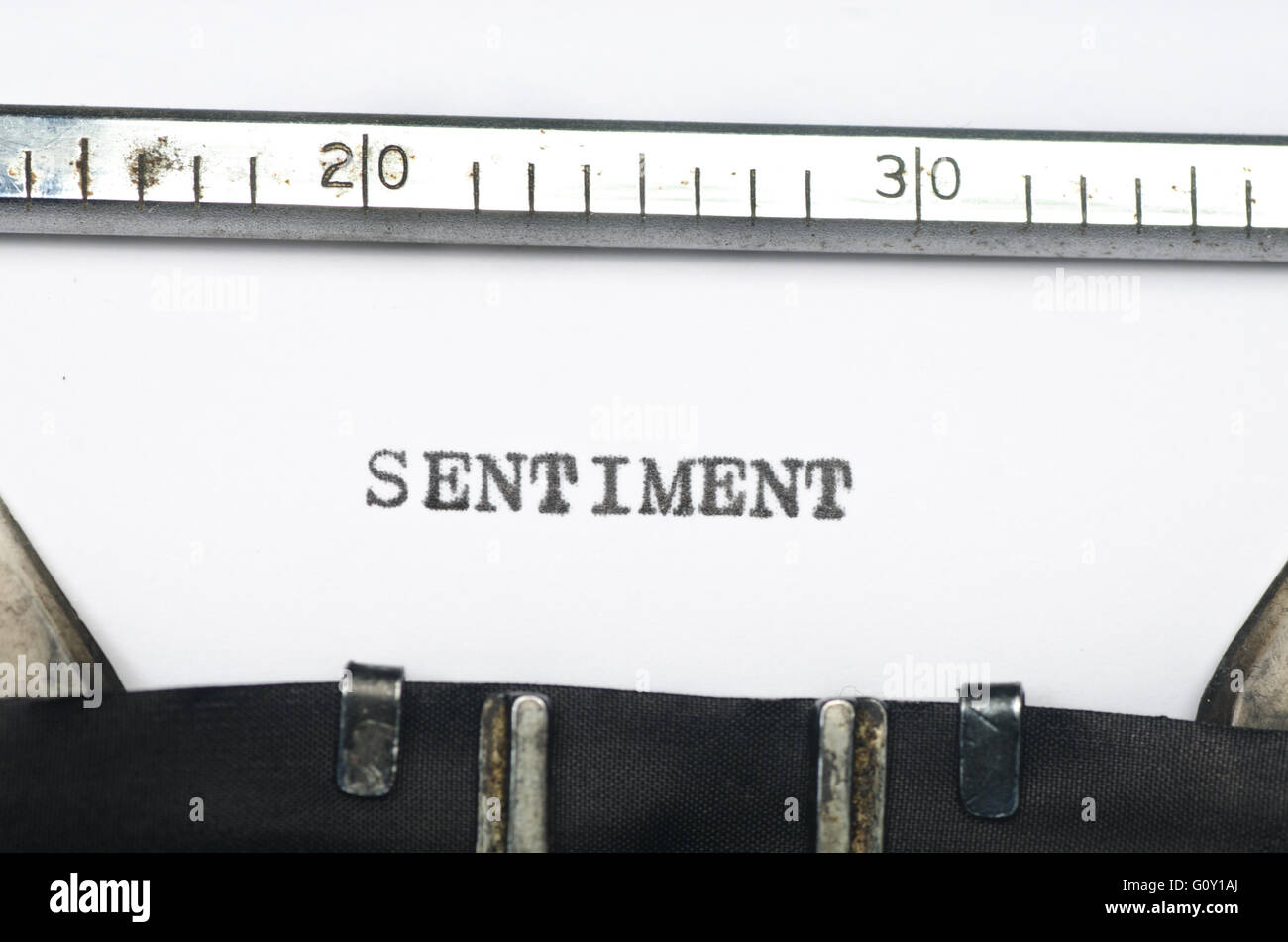 word sentiment typed on an old typewriter - Stock Image