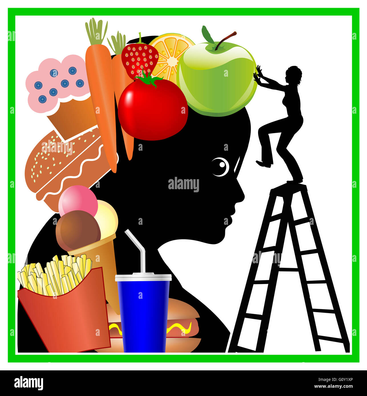 Brain Training for healthy eating - Stock Image