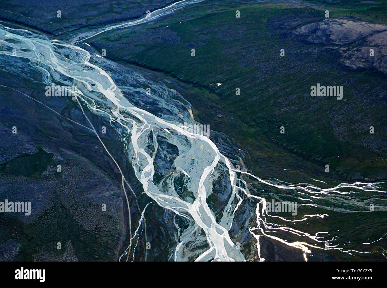 Aerial view of remote river between Provideniya & Egvekinot; Siberia; Chuchki Peninsula; Magadan Region; Russian - Stock Image