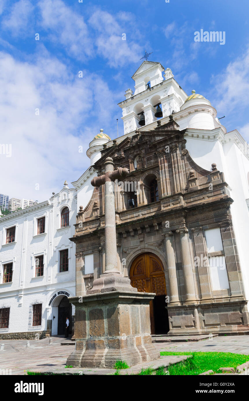 Front Entrance To Beautiful Church Of Guapulo Located In Quito Stock