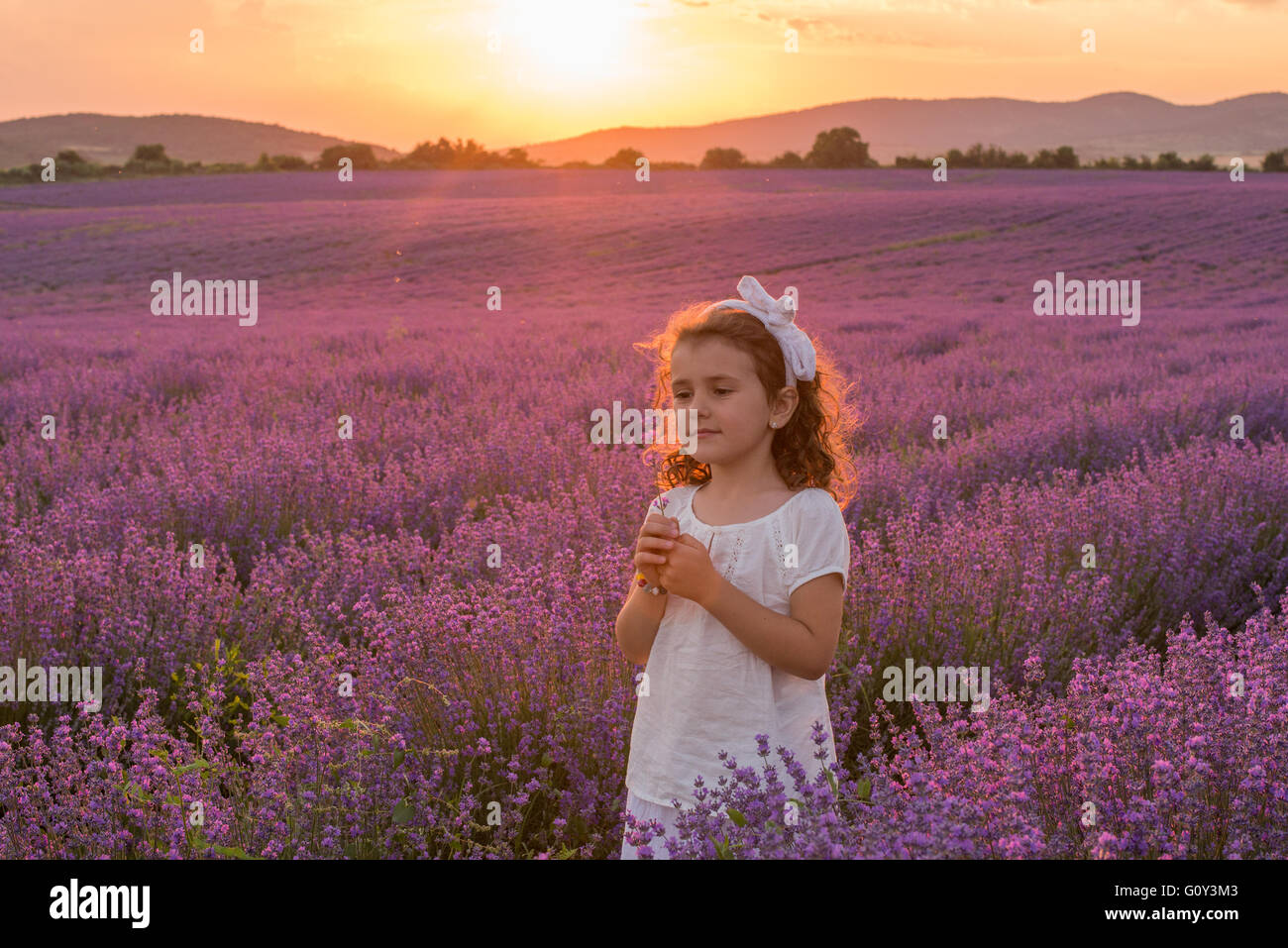 Portrait of a Girl standing in lavender field, Kazanlak, Bulgaria - Stock Image