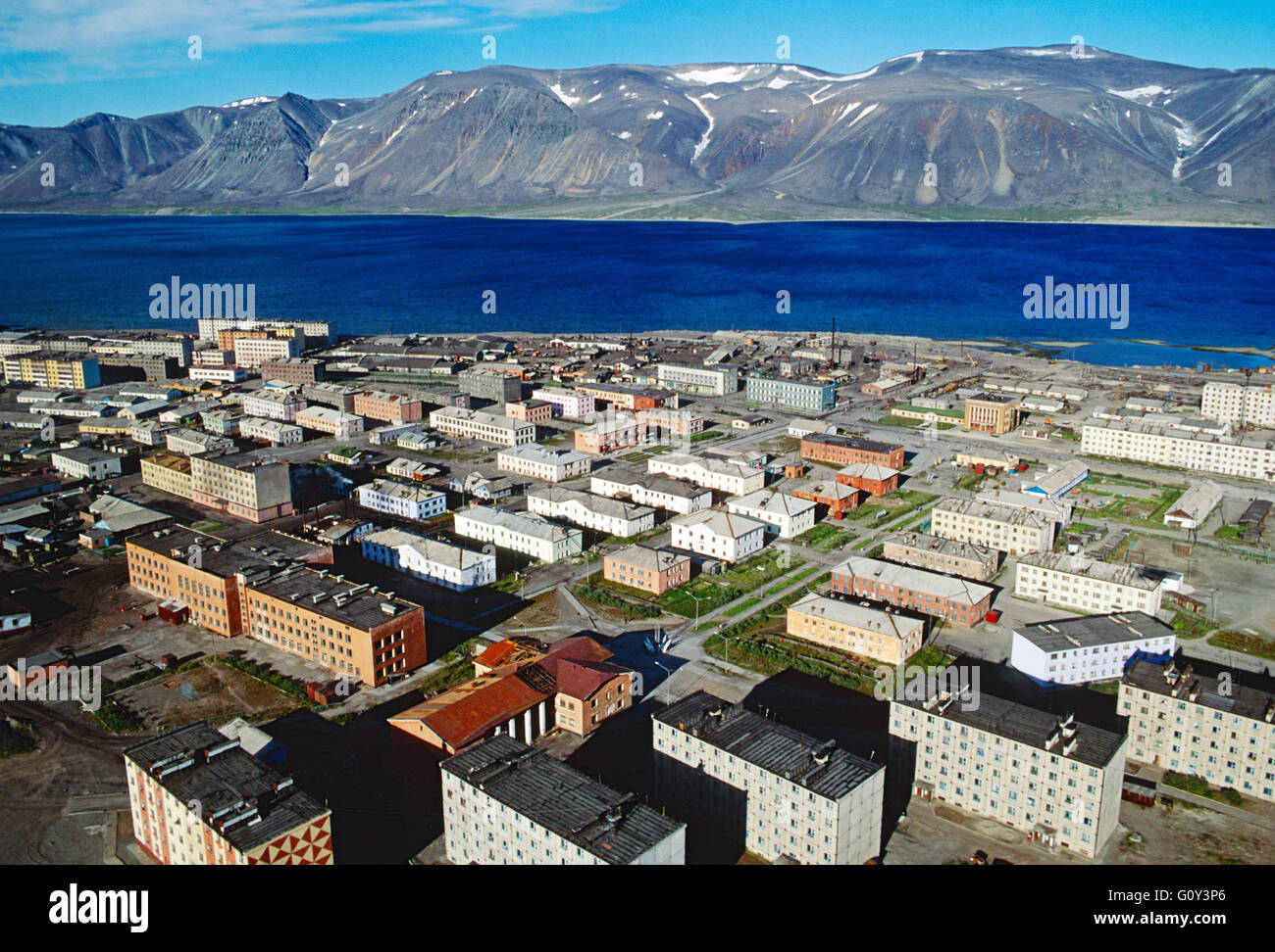 Aerial view of remote Siberian port town of Egvekinot; Magadan Region; Bering Sea; Russian Federation; former Soviet - Stock Image